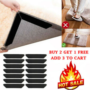 8x Rug Gripper Pad Anti Curling Carpet Anchors Sticky Holder Non-slip Washable