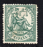 Spain 20 Cent Stamp c1874 Mounted Mint Hinged (3587)