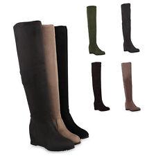 Damen Stiefel Keilabsatz Overknees Wedges Boots 813514 Schuhe