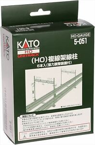 KATO 5-051 Double Track Catenary Poles (6 pcs) (HO scale)