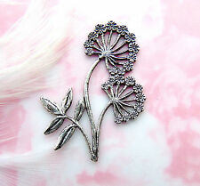 ANTIQUE SILVER Dandelion - Flower Stampings ~ Jewelry Oxidized Finding (C-1306)