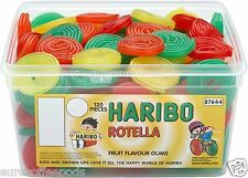 Haribo Sweets Tub Rotella Fruit Liquorice Wheels 120 Pieces