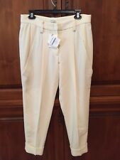 New BRUNELLO CUCINELLI Ivory Wool Blend Cropped Dress Pants Size 8/44 $1180