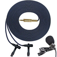 """""""PRO"""" DUAL HEAD MICROPHONE STEREO BINAURAL LAVALIER CLIP ON LAPEL INTERVIEW MIC"""