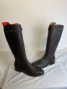 All Saints Ladies Brown Biker Leather Zip Up Boots Uk 8 Ref Ba4