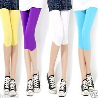 Women 3/4 Length Plain Stretch Lady Leggings Sport Yoga Tight Cool Party Pants