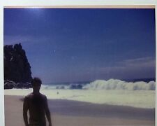 Vintage 90s PHOTO Young Man Standing On Beach w/ Large Crashing Waves