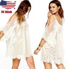 Vintage Hippie Boho People Embroidered Floral Lace Crochet Party Mini Dress L US