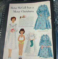 Betsy McCall Has A Merry Christmas Paper Doll Scarce Vhtf Original 1951