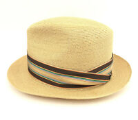 DOBBS FIFTH AVE. NY Vtg. Men's Brown-Whipcord Straw Fedora Hat, Sz. 6 7/8 1980's