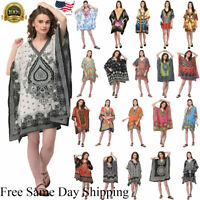 Women Hippy Boho Kaftan Tunic Dress Dashiki Caftan PlusSize Baggy Top Mini Dress