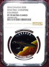 2016 CANADA $20 STAR TREK U.S.S. ENTERPRISE SILVER COIN - NGC PF 70 ULTRA CAMEO