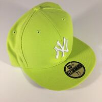 Rare NY New York Yankees New Era 59fifty Size 7 5/8 Fitted Hat Cap NEON Lime