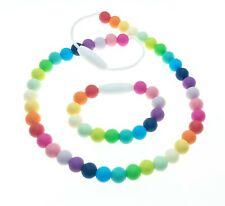 Teething Sensory Necklace Rainbow Bracelet Set Fidget Silicone Kids Toddlers