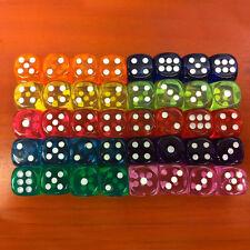 Lot 5Pcs Mixed Square Transparent Dice Acrylic Craps Casino Bar Toy Game 14mm