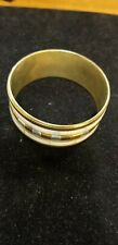 """Bangle Costume Jewelry 7"""" Bracelet Vintage Brass and Mother of Pearl"""