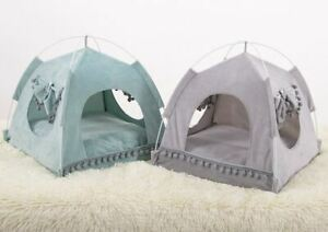 Pet Dog Cat Tent House Sofa Bed Folded Cushion Mat 2 sides use Indoor Green