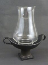 Ceramic Stoneware Taper Candle Holder & Glass Chimney / Black / Two Handles