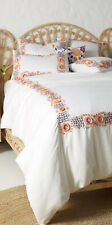 Anthropologie Embroidered Petunia Duvet Cover With Euro And Standard Shams King