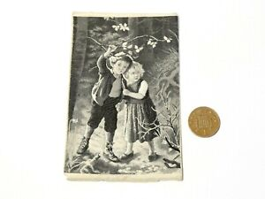 Antique Silk Woven Stevengraph Picture Hansel and Gretel ? Two Children in Woods