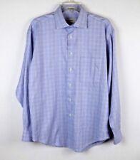 Pronto-Uomo Men's Non-Iron Shirt L/S Button Up Blue 100% Cotton Large L