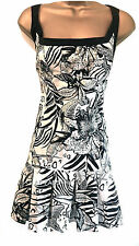 Karen Millen Womens Tropical Summer Floral Print Sun Dress Black White UK Size 6