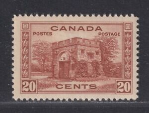 Canada Scott 243 VF MNH 1938 20¢ Red Brown Fort Garry Gate