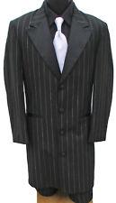 Boys 4 Long Black Pinstriped Tuxedo Zoot Suit & Pants Frock Gangster Halloween