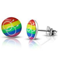Ohrstecker Herren Regenbogen Bunt aus Edelstahl Herren Ohrringe Männer LGBT Gay