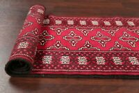 Narrow Geometric Bokhara Runner Rug Oriental Hand-Knotted RED Wool Carpet 2'x6'