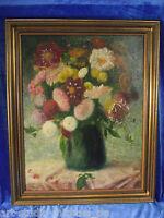 """M. Schohner """"Gemischter farbiger Blumenstrauß in grüner Vase"""" 1920/30"""