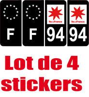 4 Autocollants 2 paires Stickers style Auto Plaque Black Edition noir F+ 94