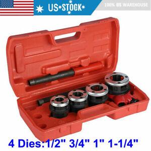 "4 Dies Manual Plumber Pipe Threading Kit 1/2"" 3/4"" 1"" 1-1/4"" Threader Tools US"