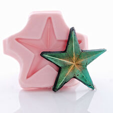 Silicone Rustic Star Mold Food Safe Fondant Mint Craft Resin Polymer Clay (964)