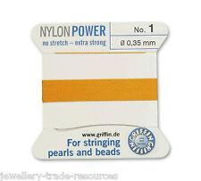 Ámbar amarillo Nylon Potencia sedoso Hilo 0,35 mm Encordar Perlas Y Cuentas Griffin 1