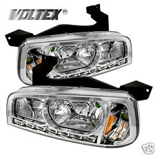 2006-2010 DODGE CHARGE 1PC LED CRYSTAL HEADLIGHTS LIGHTBAR LIGHT LAMP CHROME