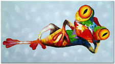 """Hand Painted Reclining Frog Oil Painting 32x16"""" - Multi-colored Animal Art"""