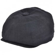 G & H Black Linen 8 Panel Peaky Blinders Style Newsboy Cap Hat