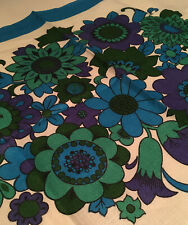 FUNKY VINTAGE TEATOWEL 60s FLOWER POWER MOTIF LOVELY BRIGHT COLOURS UNUSED