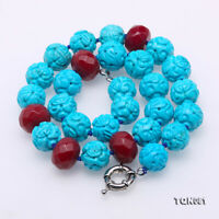 """Nature Gemstone 14-14.5mm Turquoise necklace Round Caving beads Jewelry 19"""""""