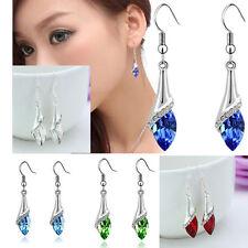 Women 18K White Gold Plated Crystal Water drop Dangle Earrings Ear Hook Jewelry