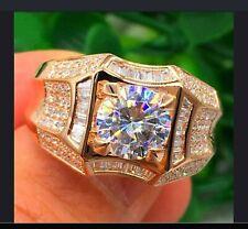 Filled White Sapphire Gemstone Ring Proposal Luxury Men Fashion Diamond 18k Gold