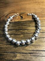 Sterling Silver 8mm Bead Bracelet, Hook and Eye 925 Clasp #1163