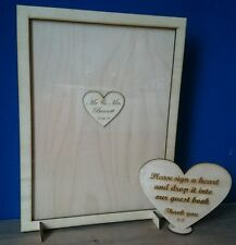 Personalised wooden rectangle drop box guest book wedding 20 - 100 hearts & sign