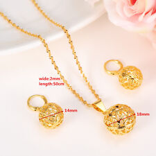 Round Pendant Necklace chain Earrings sets Jewelry 24k Real Fine Gold GF Bead