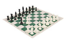 Tournament Chess Pieces and Chess Board Combo - TRIPLE WEIGHTED - Green & Buff R