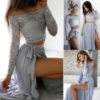SUMMER WOMENS LADIES TWO PIECE CROP TOP AND SKIRT SET SEXY BANDAGE BODYCON DRESS