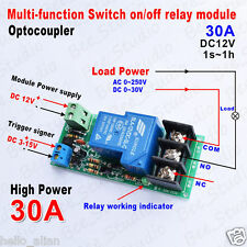 DC 12V 30A Signal Control Delay Time Timer On/Off Module High Power Relay Switch