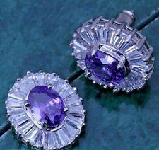 1.6cm Oval Purple Amethyst & CZ Baguettes Silver Drop Earrings