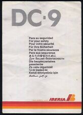 IBERIA spanish airline DC9 SAFETY CARD airline brochure ee e172